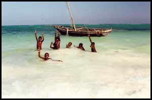 Swimming in Zanzibar